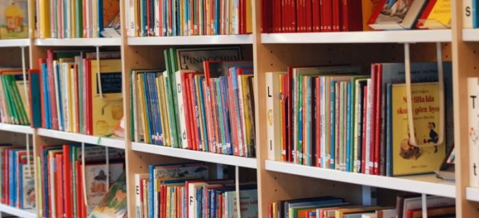 Kuva kirjoista hyllyssä